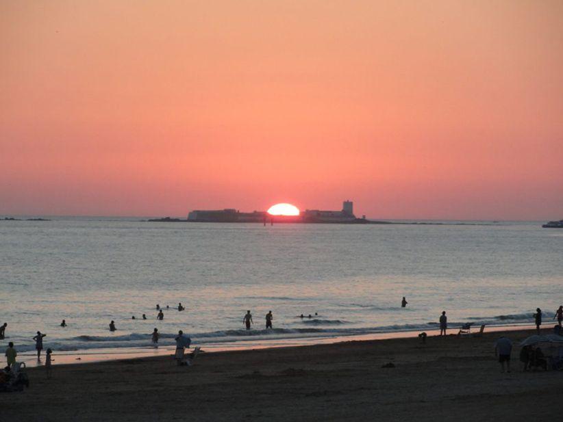 Puesta de sol playa la barrosa Chiclana