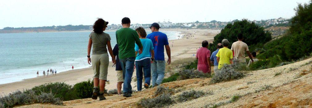 Personas haciendo senderismo en la playa